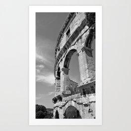 arena amphitheatre pula croatia ancient high black white Art Print