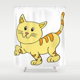 cat yellow Shower Curtain