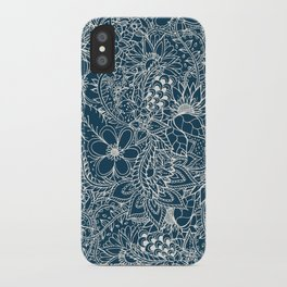 Modern hand drawn floral lace on spring sailor navy blue and coconut color iPhone Case