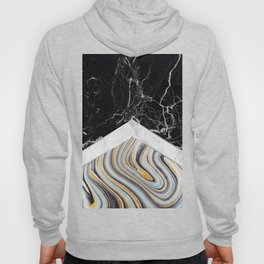Arrows - Black Granite, White Marble & Blue Marble #182 Hoody