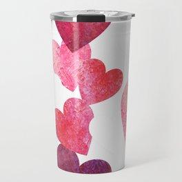 Pink Grungy Hearts Travel Mug
