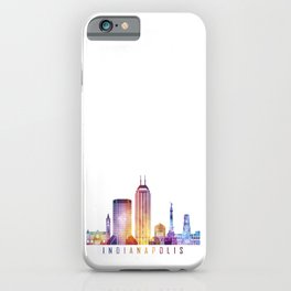 Indianapolis skyline landmarks in watercolor iPhone Case
