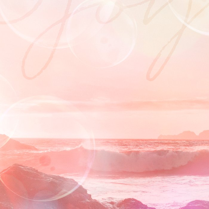 Joy at the sea bubbles sunst ocean typography art Leggings