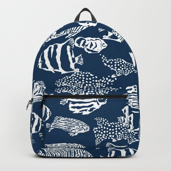 fish pattern vector illustration with stripes and dots Backpack