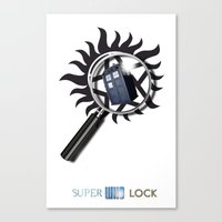 superwholock Canvas Prints featuring SuperWhoLock Poster Print by Particularly Peculiar