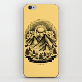 FIND A BEAUTIFUL PLACE TO GET LOST (Yellow) iPhone Skin