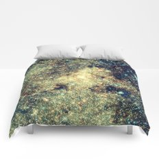 Galaxy Gold & Blue Stars Comforters