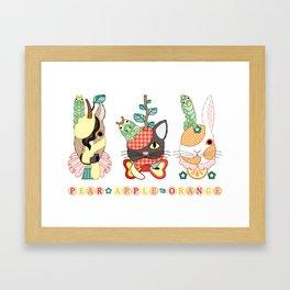 Fruit animals a pear horse, an apple cat, a mandarin orange rabbit, with green caterpillars (remake) Framed Art Print