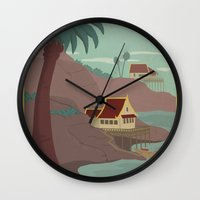 travel poster Wall Clocks featuring Ember Island Travel Poster by HenryConradTaylor