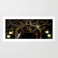 Forest in March nights Art Print