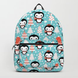 Cute and fun winter penguins and Christmas trees Backpack