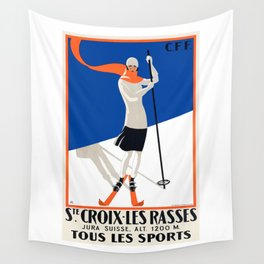 1922 Sainte-Croix Switzerland Ski Travel Poster Wall Tapestry