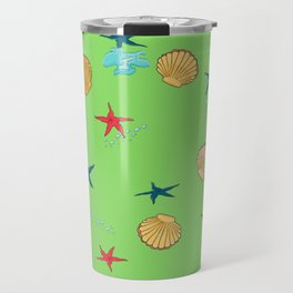seashells and starfishes - green Travel Mug