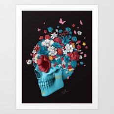 Skull Life Black Art Print