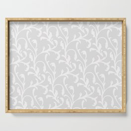Pastel gray white abstract vintage damask pattern Serving Tray