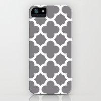 Gray Quatrefoil Slim Case iPhone (5, 5s)