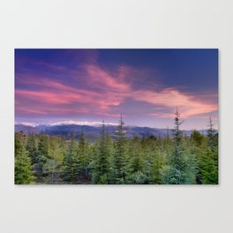 Spring sunset at the mountains Canvas Print