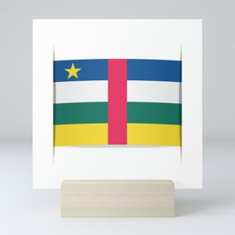 Flag of Central African Republic. The slit in the paper with shadows. Mini Art Print