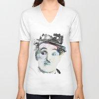 chaplin V-neck T-shirts featuring Chaplin by Marian - Claudiu Bortan