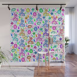 Easter Bunny Rainbow Party Wall Mural