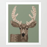 antlers Art Prints featuring Antlers by ArtLovePassion