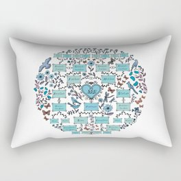 Illustrated Family Tree, colored blue and turquoise, Genealogical Illustration of Ancestrors and Descendants Rectangular Pillow