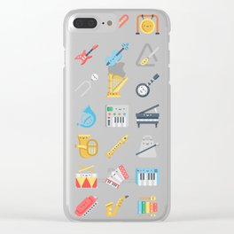 CUTE MUSICAL INSTRUMENTS PATTERN Clear iPhone Case