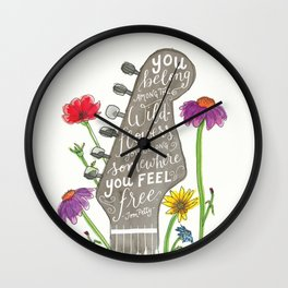 You belong among the wildflowers. Tom Petty quote. Watercolor guitar illustration. Hand lettering. Wall Clock