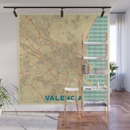 Valencia Map Retro Wall Mural