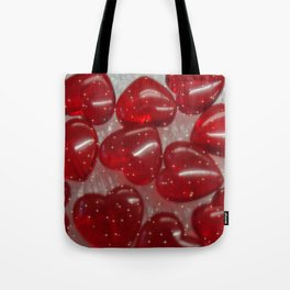 glittering glass hearts red Tote Bag