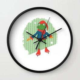 Ice Skating Frog Wall Clock