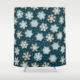Frosted Gingerbread on Winter Night Sky Shower Curtain
