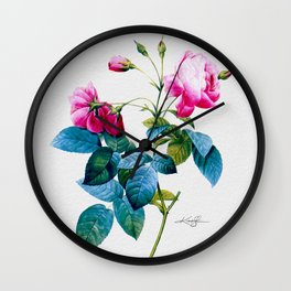 Pink Roses by Kathy Morton Stanion Wall Clock