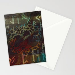 Tree of life  -Yggdrasil - and runes Stationery Cards