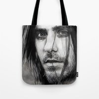 jared leto Tote Bags featuring Jared Leto by Luna Perri