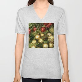 Contemporary Christmas Ornaments in Holiday Red and Gold Unisex V-Neck