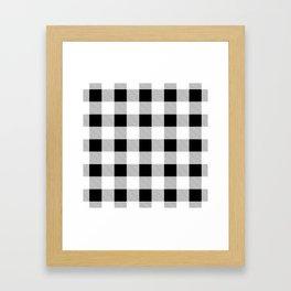 western country french farmhouse black and white plaid tartan gingham print Framed Art Print