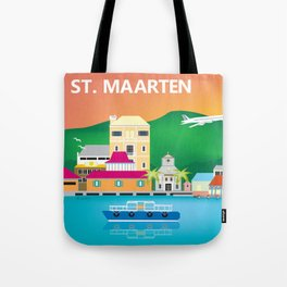 St. Maarten - Skyline Illustration by Loose Petals Tote Bag