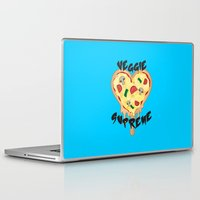 vegetarian Laptop & iPad Skins featuring Veggie Supreme - Deluxe Vegetarian Heart Shaped Pizza  by MagicCircle