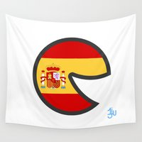 spain Wall Tapestries featuring Spain Smile by onejyoo