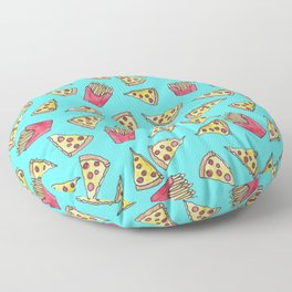 Pepperoni Pizza French Fries Foodie Watercolor Pattern Floor Pillow