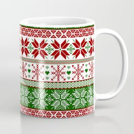 Green & Red Winter Fair Isle Coffee Mug