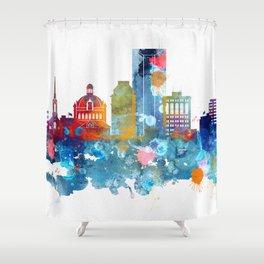 Colorful watercolor Lexington skyline Shower Curtain