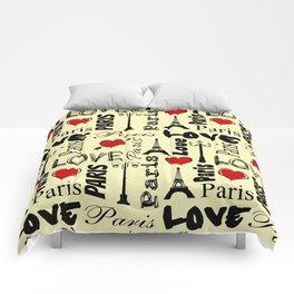Paris text design illustration Comforters