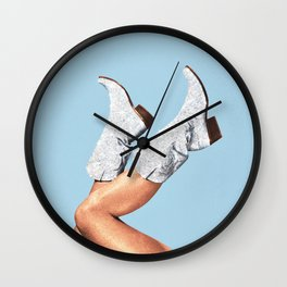 These Boots - Glitter Blue Wall Clock