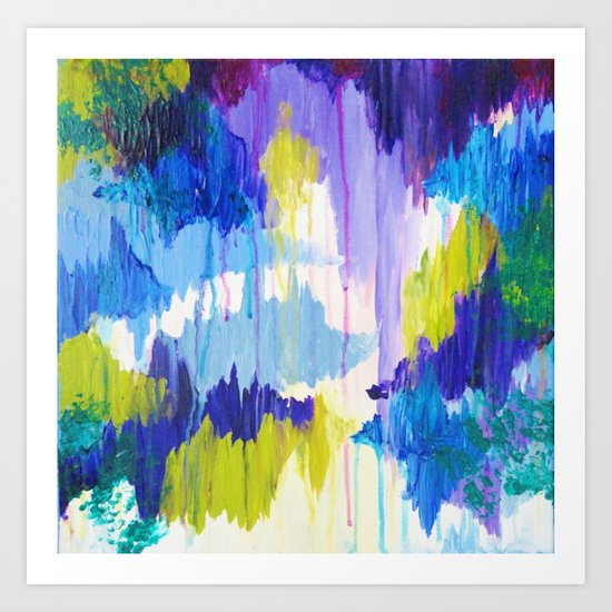 WINTER DREAMING - Jewel Tone Colorful Eggplant Plum Periwinkle Purple Chevron Ikat Abstract Painting Art Print