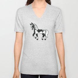 Black Pinto Trotting Horse Cute Cartoon Illustration Unisex V-Neck