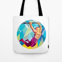 crossfit Tote Bags featuring Crossfit Pull Up Bar Circle Low Polygon by patrimonio
