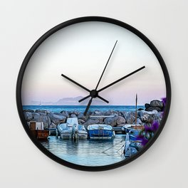 Little port in a village of the Ischia Island Wall Clock