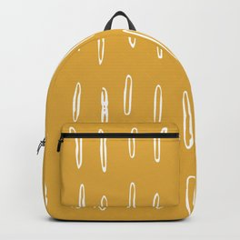 Line Drawing, Boho, Spotted Mudcloth, Mustard Yellow Backpack
